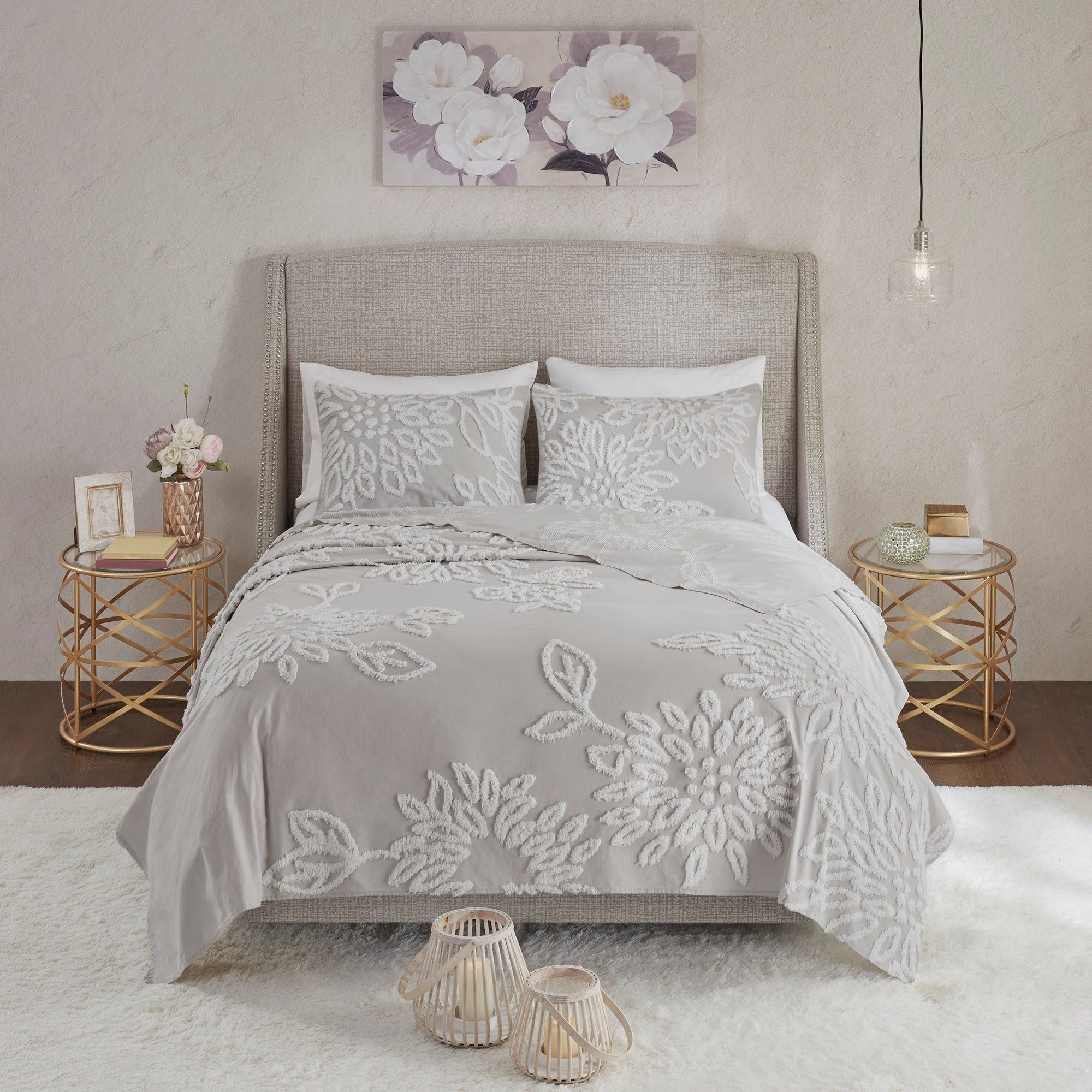 Madison Park Pansy Grey White Tufted Cotton Chenille Floral Coverlet Set King Cal King Gray Floral Comforter Sets Chic Comforter Grey Comforter Sets
