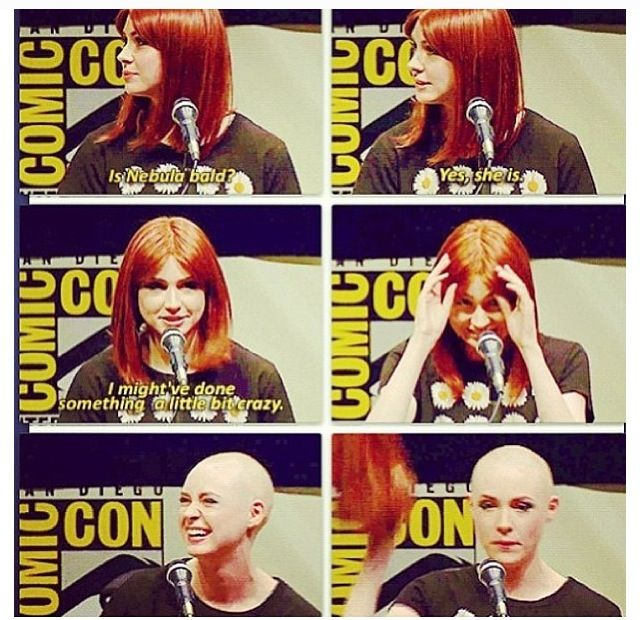 Karen cut her hair to play a role She was from doctor who Now Karen is playing nebula In guardians of the galaxy