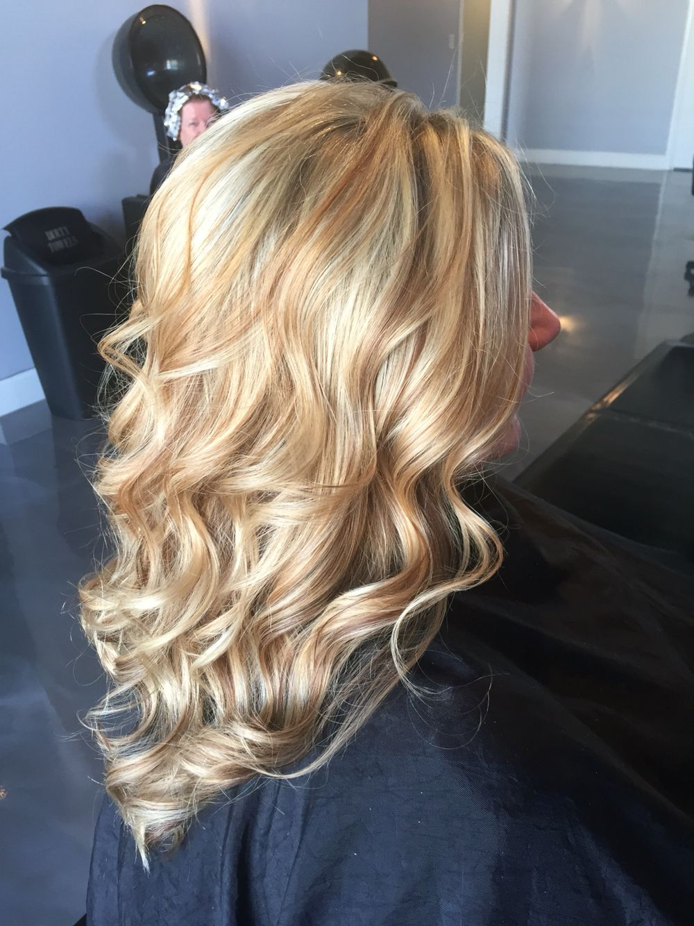 White Blonde Highlighted With Warm Caramel And Coffee Accents