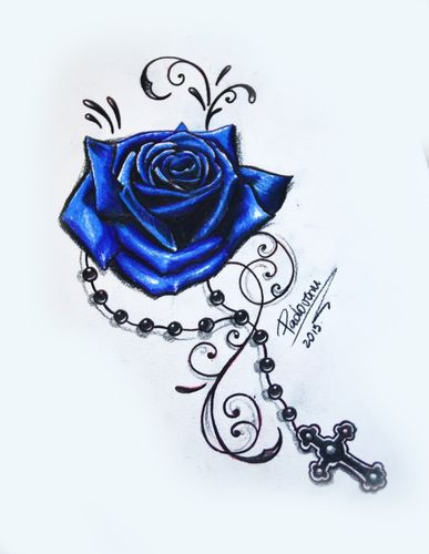 Pics Photos Rose Tattoos And Tattoo Designs Bullseye Blue Rose Tattoos Tattoos For Women Flowers Rosary Tattoo