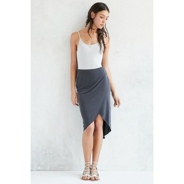 Silence + Noise Teresa Tulip Knit Midi Skirt ($69) ❤ liked on Polyvore featuring skirts, knit skirt, tulip skirt, knit midi skirt, midi skirt and silence noise skirt