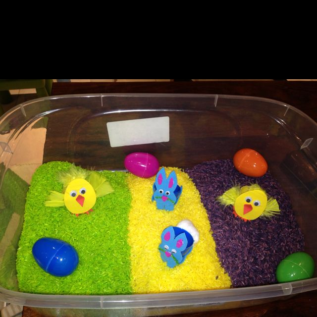 Easter sensory bin. The cute bunny and chicks idea is from sun scholars blog. A bit of foam an a glue gun and voila. The other eggs have cars and rubber bunnies inside. Can wait to play with it tomorrow with my little guy. Happy Easter everyone.