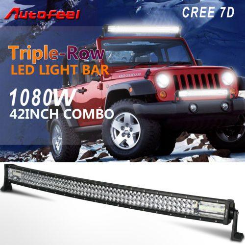 Autofeel 42 Curved Led Light Bar Tri Row 1080w Cree 7d Spot Flood Combo Offroad Automotive Led Lights Bar Lighting Curved Led Light Bar
