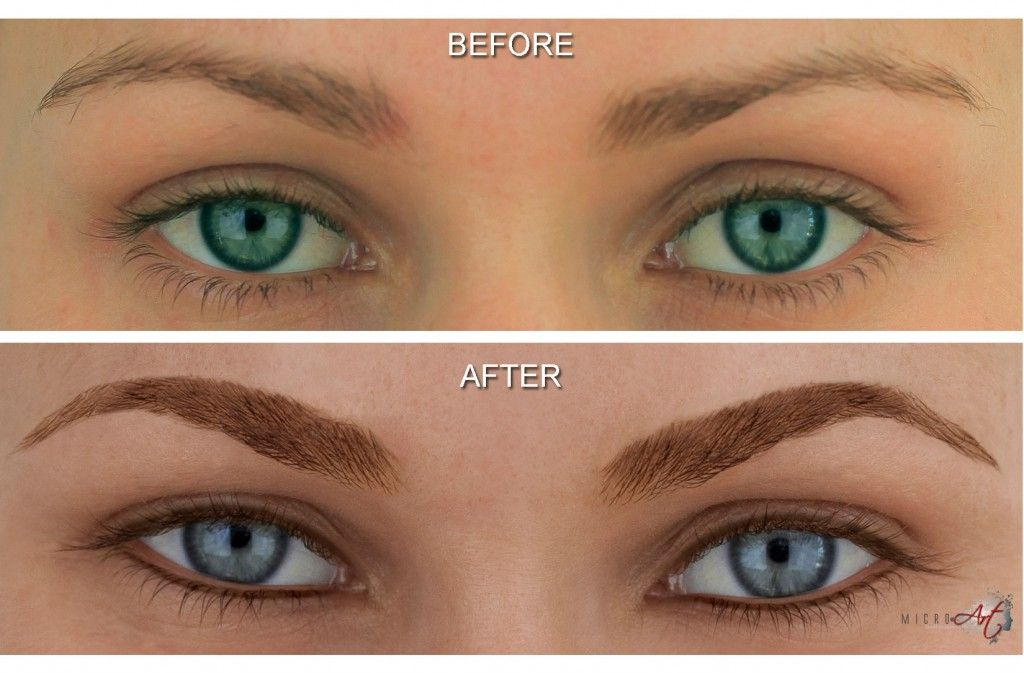 Before after photos of microart semi permanent makeup for Japanese tattoo eyeliner