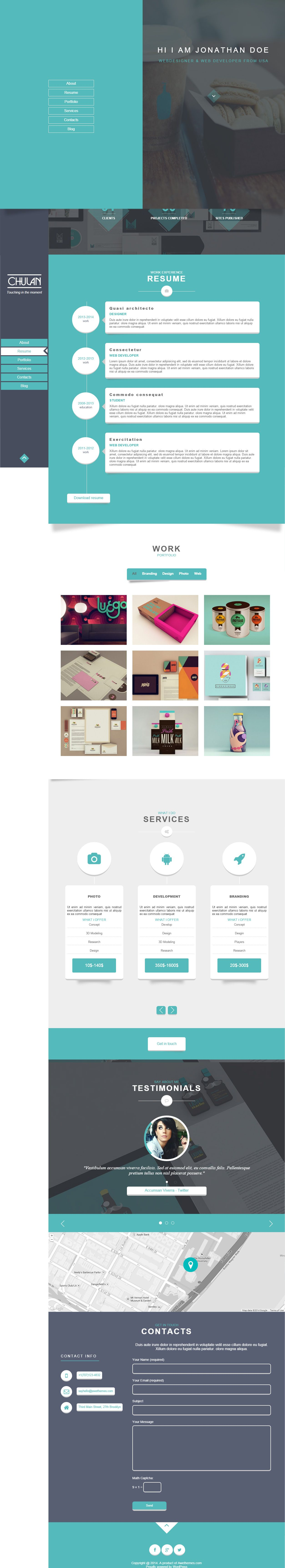 Chulan premium responsive resume wordpress theme