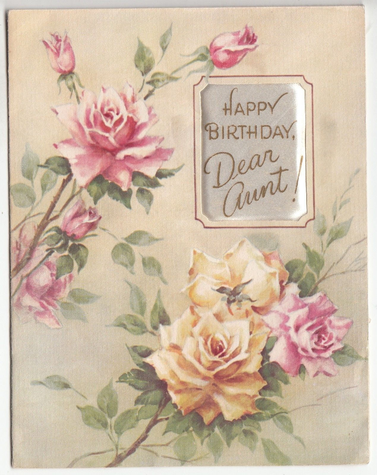 "Vintage Roses Soft ""Happy Birthday Dear Aunt"" Greeting Card"