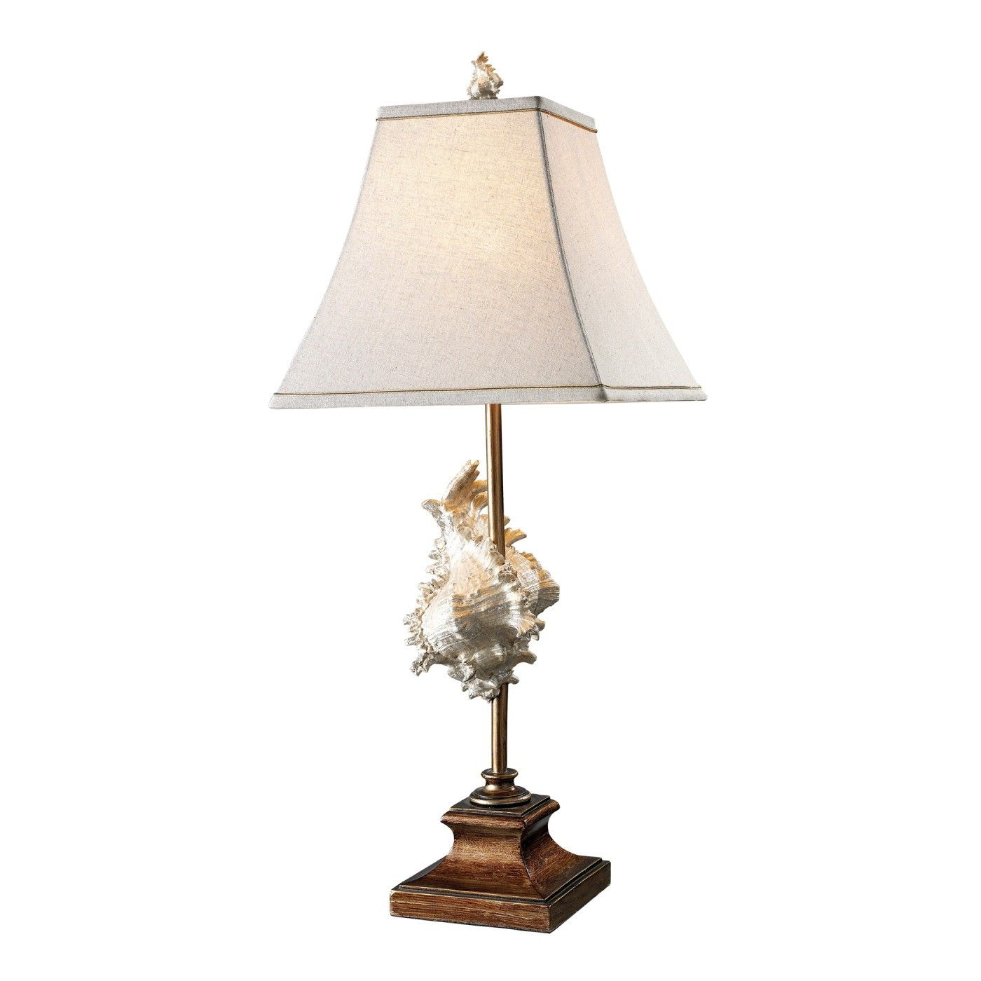 Coastal Chic Delray Conch Shell 30 Tall Table Lamp In Balinese Bronze And White Finish With Cream Natural Linen Coastalliv Bronze Table Lamp Table Lamp Lamp