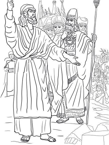 Elijah, Ahab and Prophets of Baal on Mount Carmel Coloring