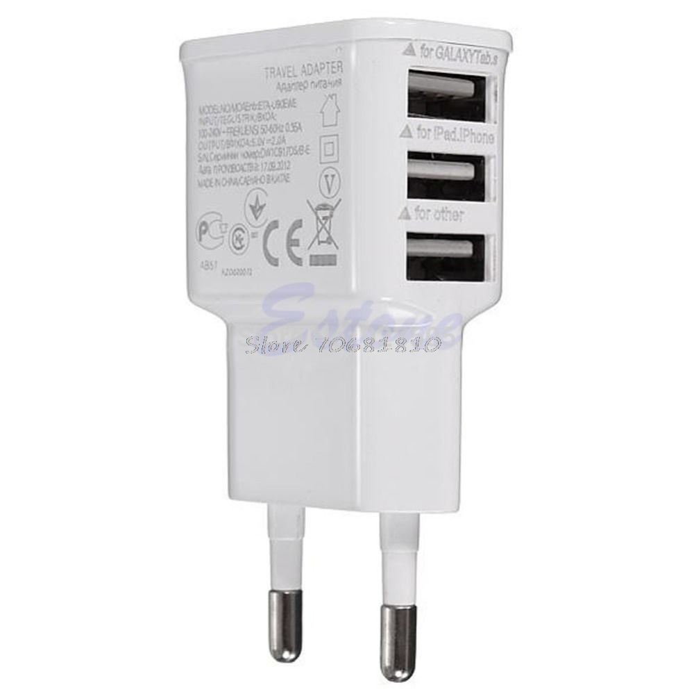 3 Ports Eu Plug Usb Wall Travel Ac Charger Adapter For Phone R179t Drop Shipping Tablet Charger Iphone Charger Charger Adapter