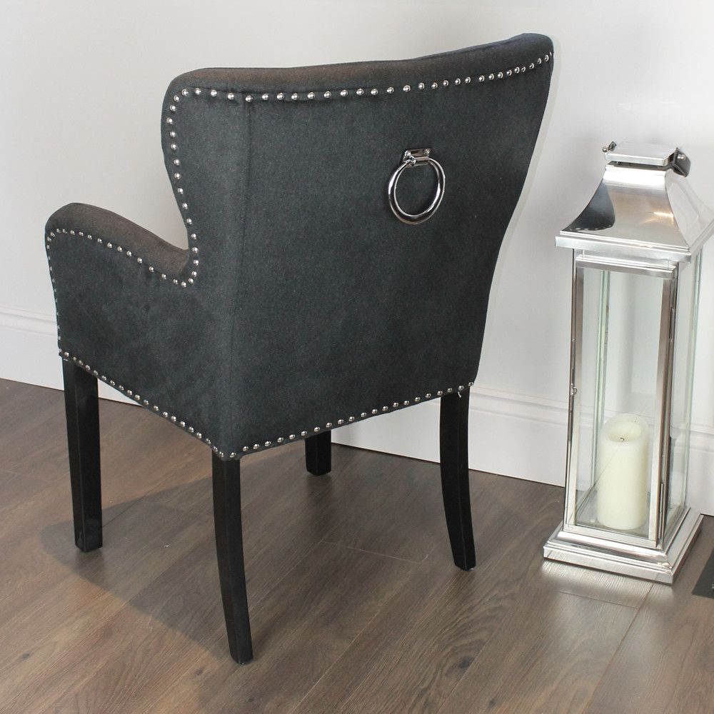 Black Studded Dining Chair With Arms Staging And