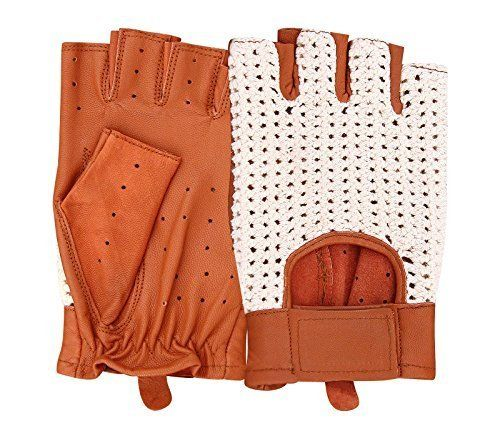 Classico Senza Dita Guanti Da Guida in pelle inglese Crochet String Retro Vintage autista Unisex Cognac - 348 (Velcro)