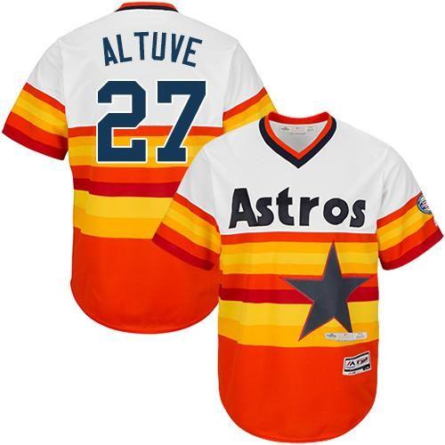 wholesale dealer 81388 3ad4e Astros #27 Jose Altuve White Orange Cooperstown Stitched ...