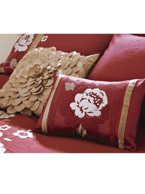 Savannah Cushions - (2 Pack) - Claret red with muted gold trim 75e12d639d