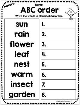 Spring Alphabetical Order Worksheets | Kindergarten | French
