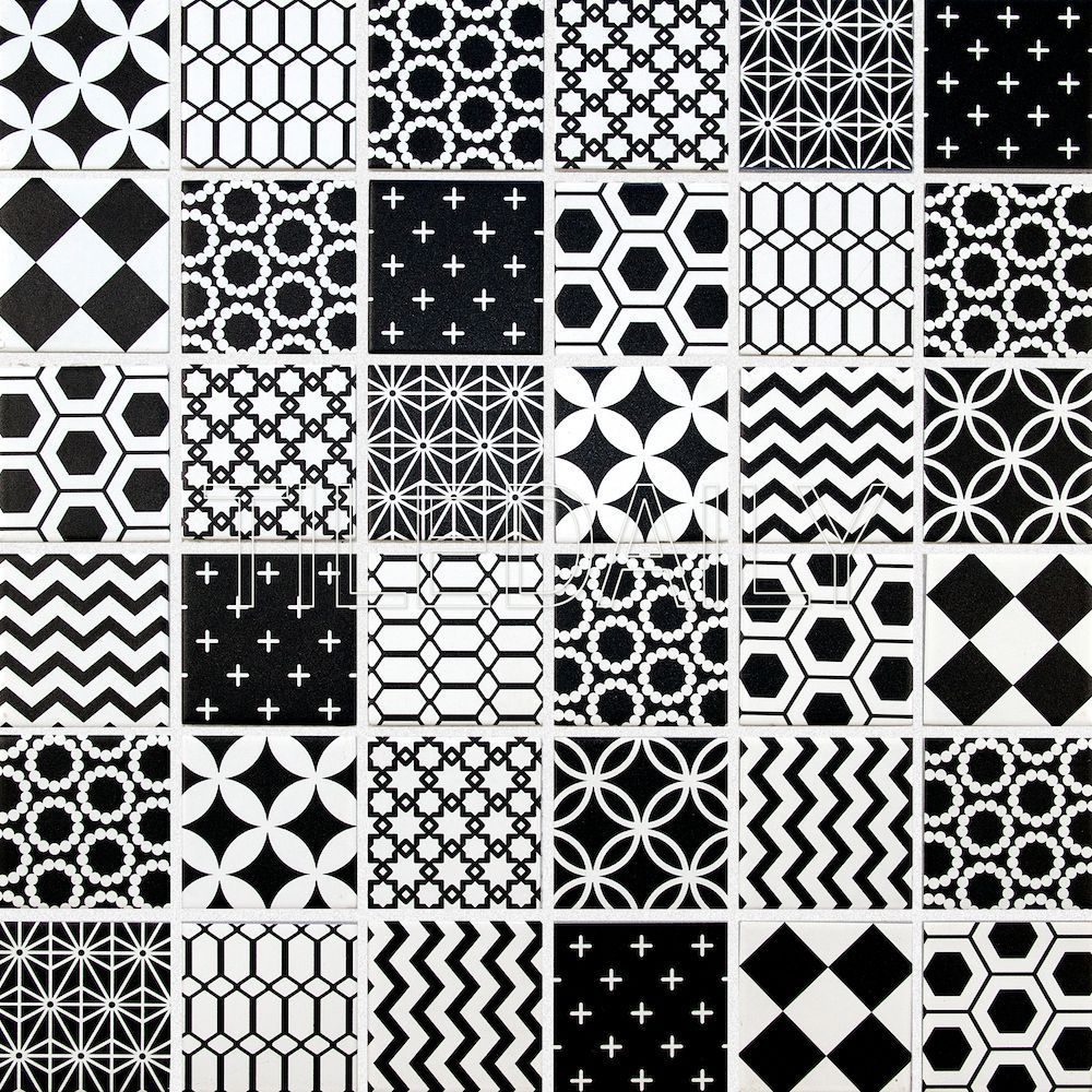 Geometric Pattern Mosaic Tile Black And White Mosaic Patterns