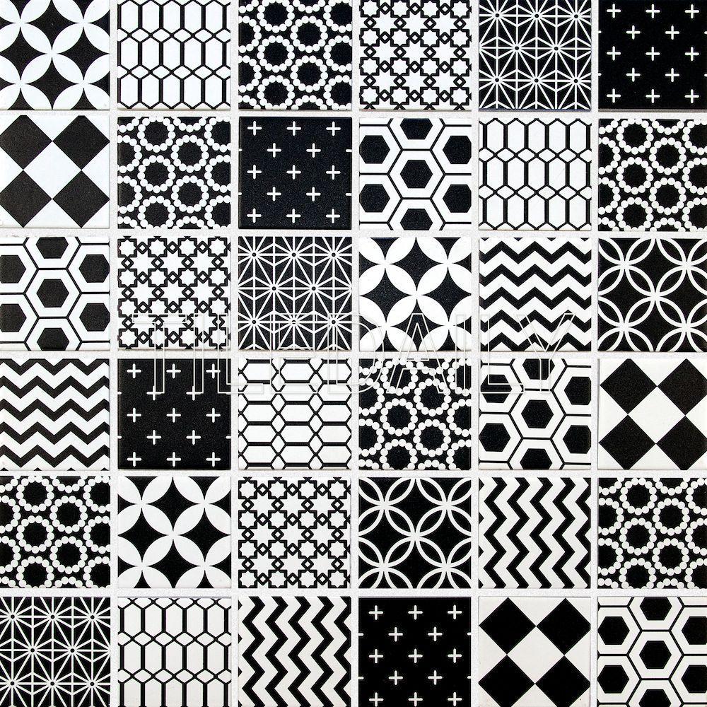 Geometric Pattern Mosaic Tile Black And White Mosaic Patterns