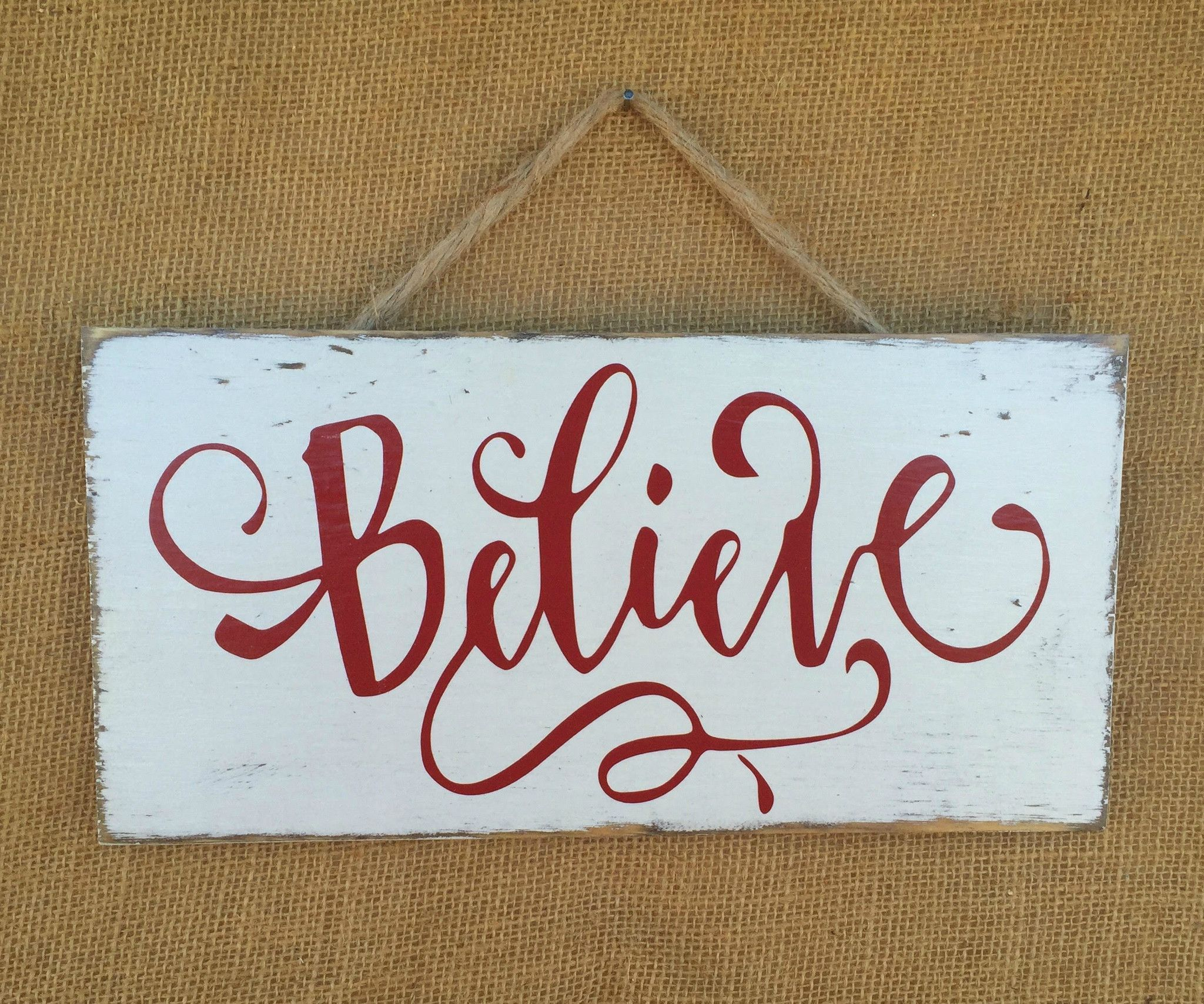 Believe Signs Decor Believe Christmas Rustic Sign  Distressed Wooden Sign  Christmas
