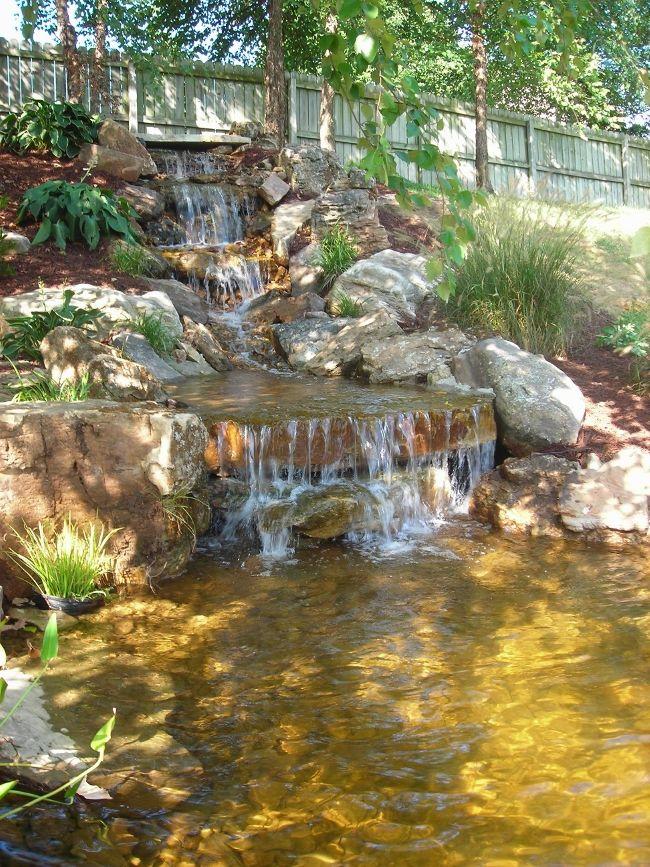 Waterfalls into koy pond Backyard Pinterest Estanques