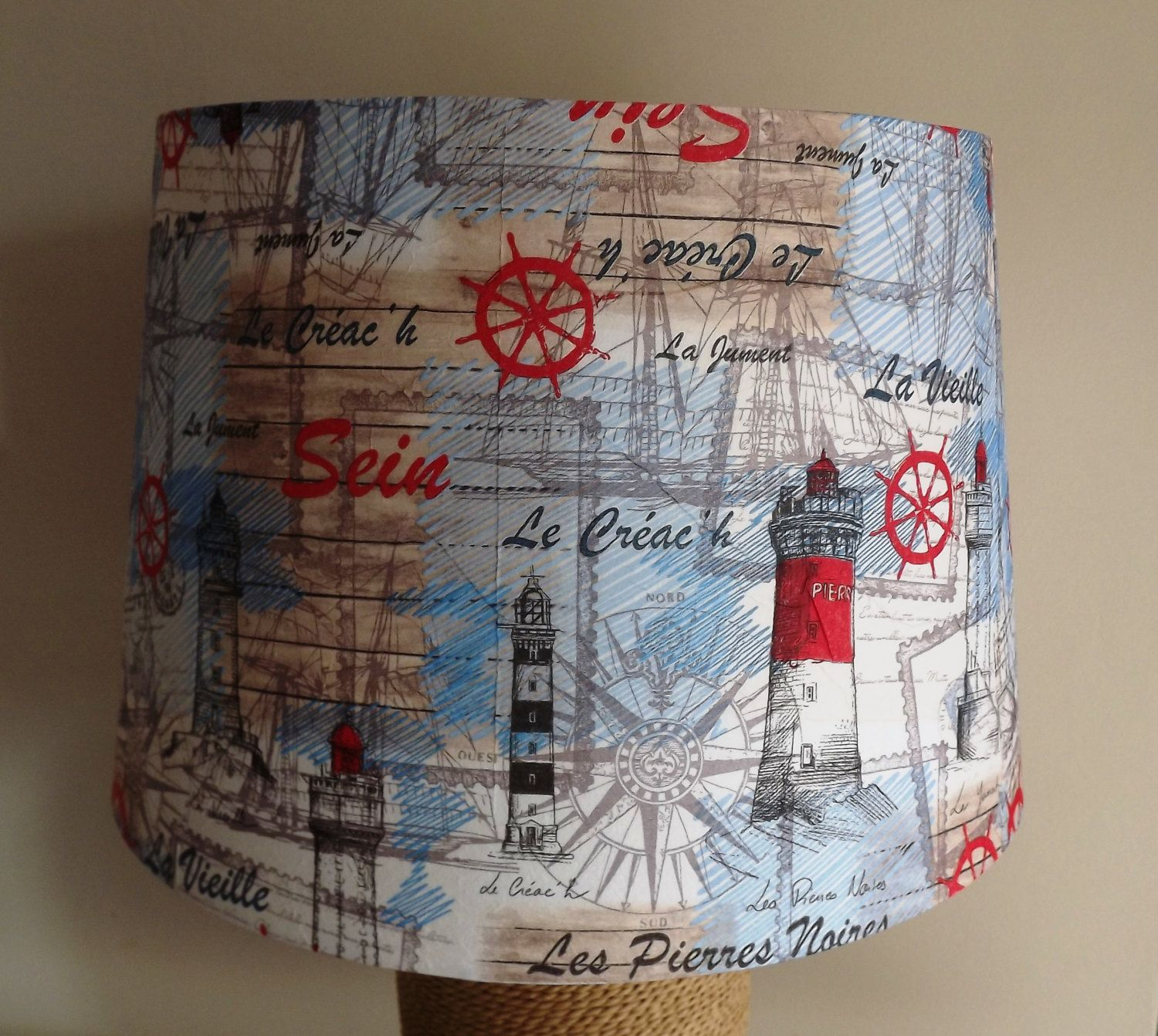 Lighthouse And Ships Nautical Lampshade Bathroom Seaside Light Shade Blue  Red White By Fattadamamma On Etsy
