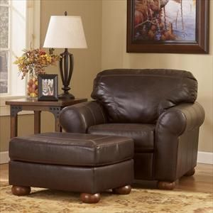 Ashley Brown Leather Chair With Ottoman Furniture Brown Leather