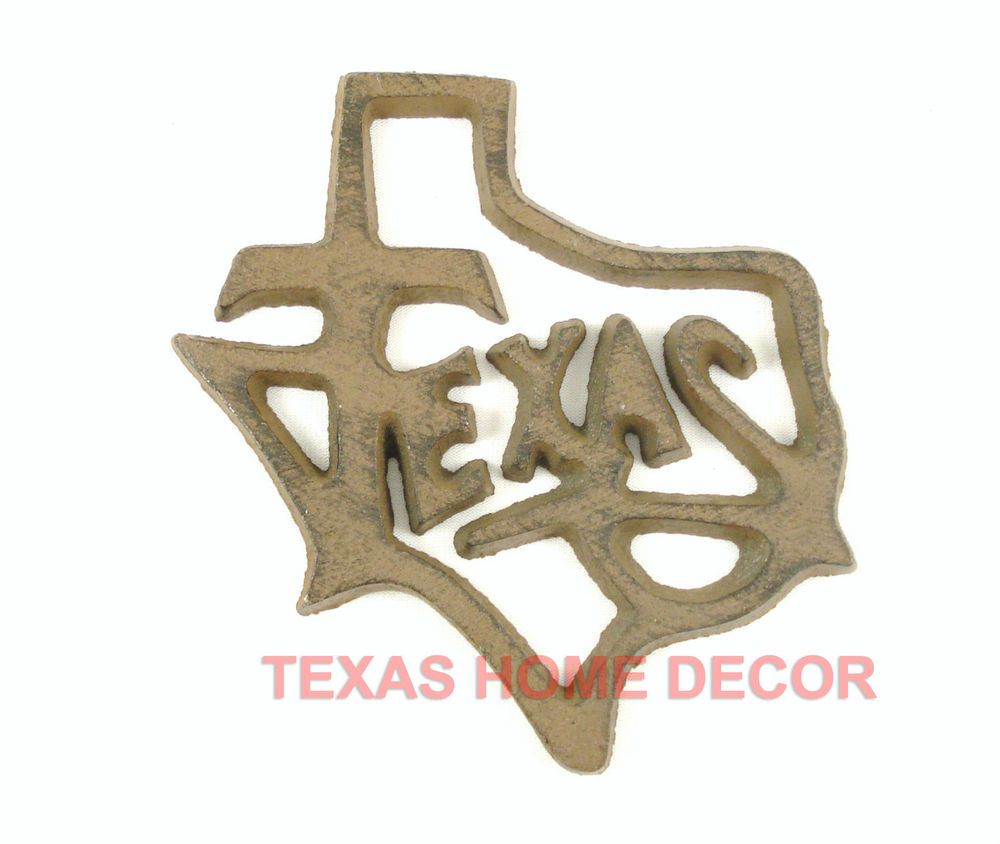 Rustic Cast Iron Texas Map Outline Lone Star State Decor 6x6 In Southwestern