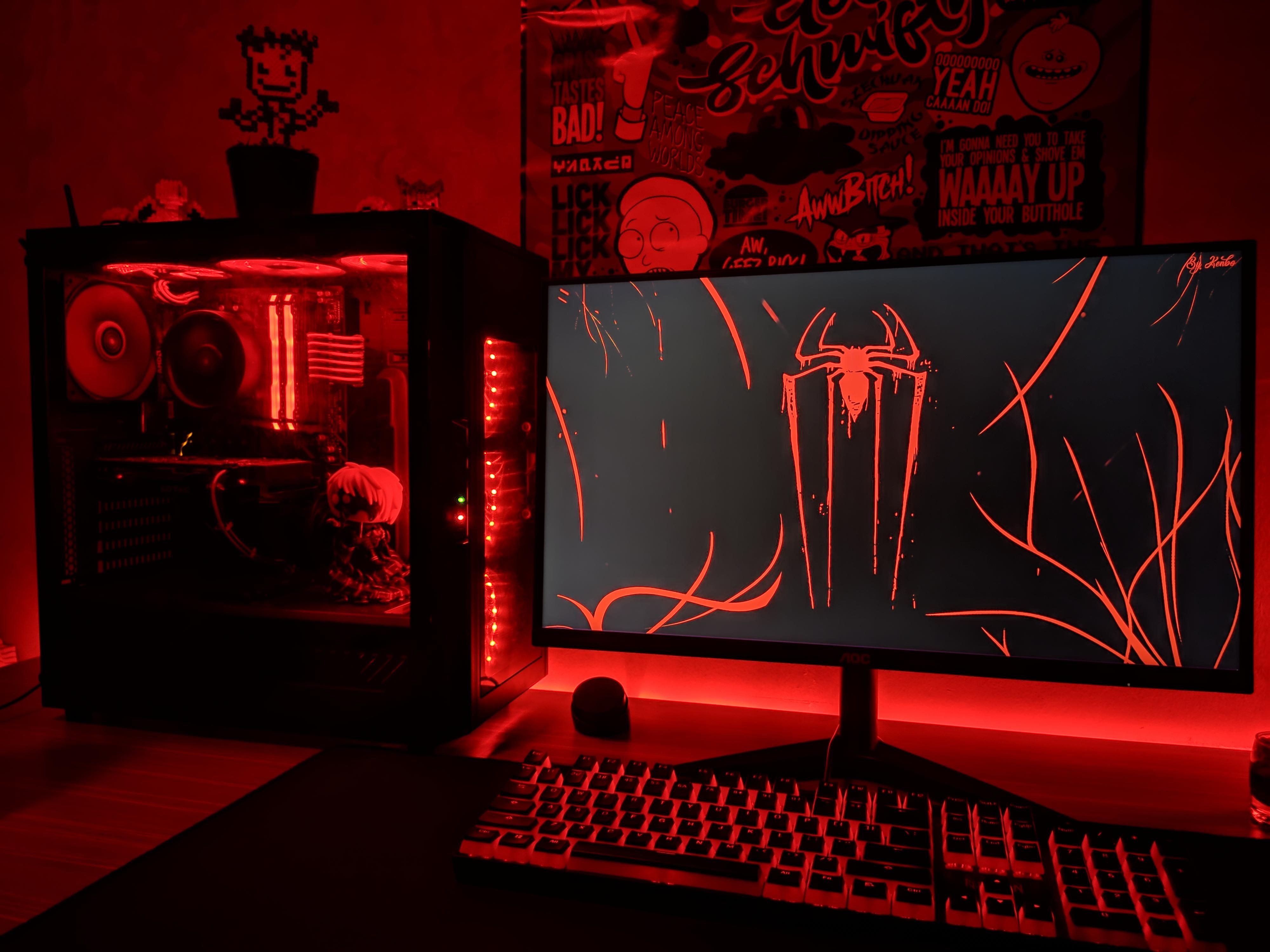 All red setup in 2020 with images computer setup