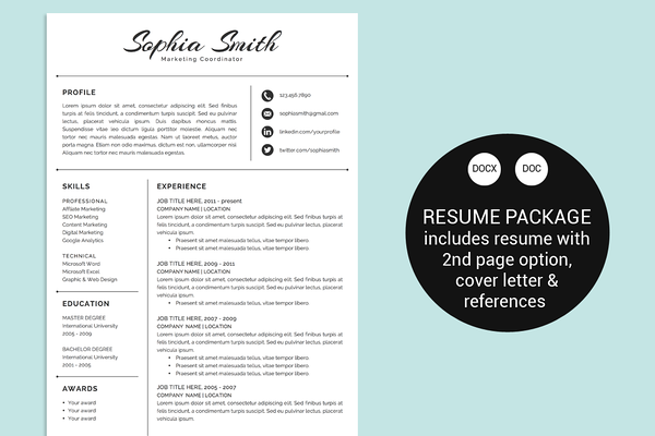 Resume Design Templates Classic Script Word Resume Template  Cv  Pinterest  Template