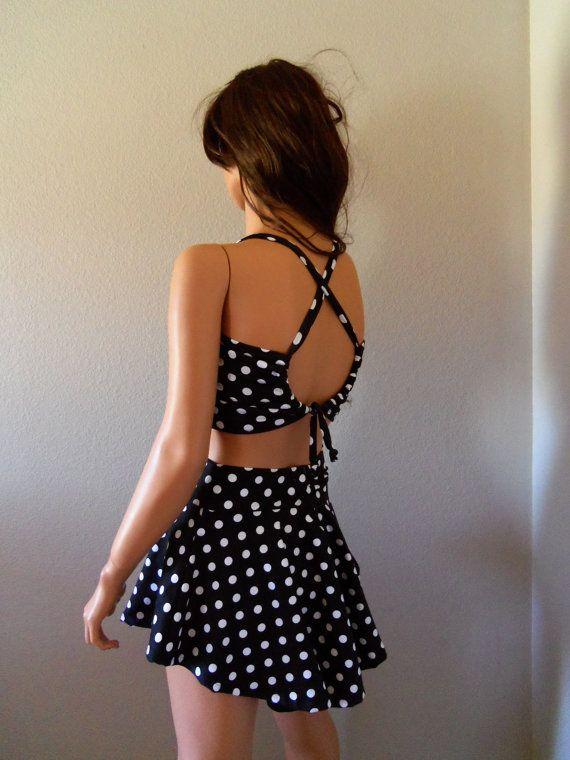 black polka dot high waist swim skirt by meshalo on