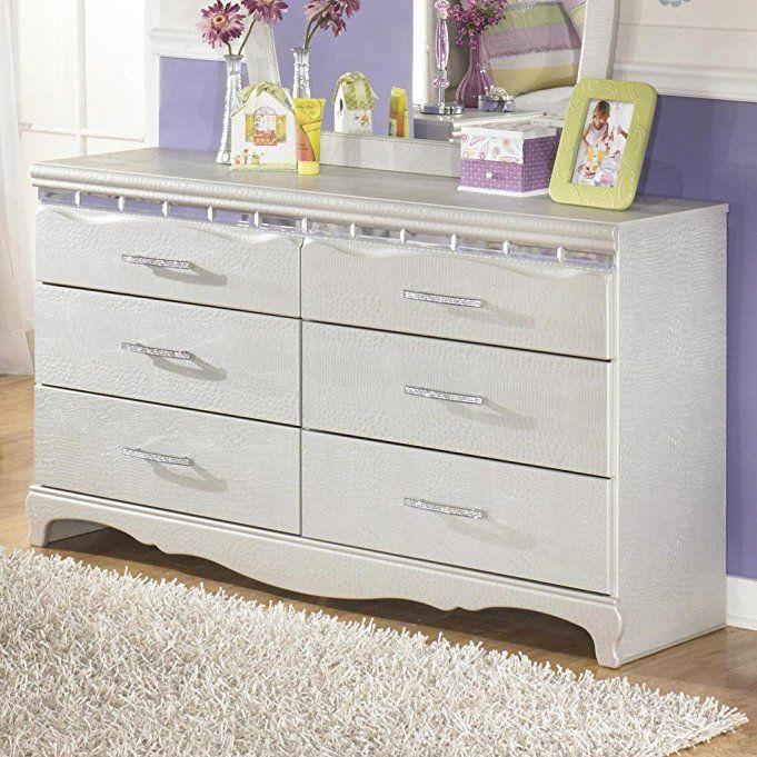 Ashley Furniture Signature Design   Zarollina Dresser   6 Drawers   Kids  Room   Faux Crystal