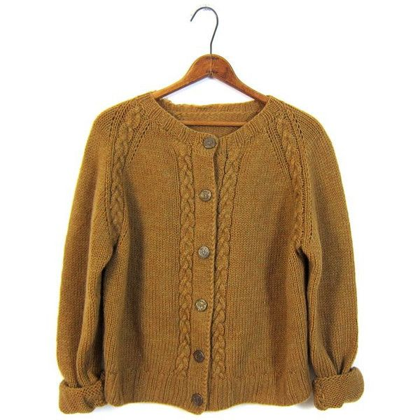 Vintage 60s Cable Knit Cardigan Sweater Button Up Mustard Brown ...