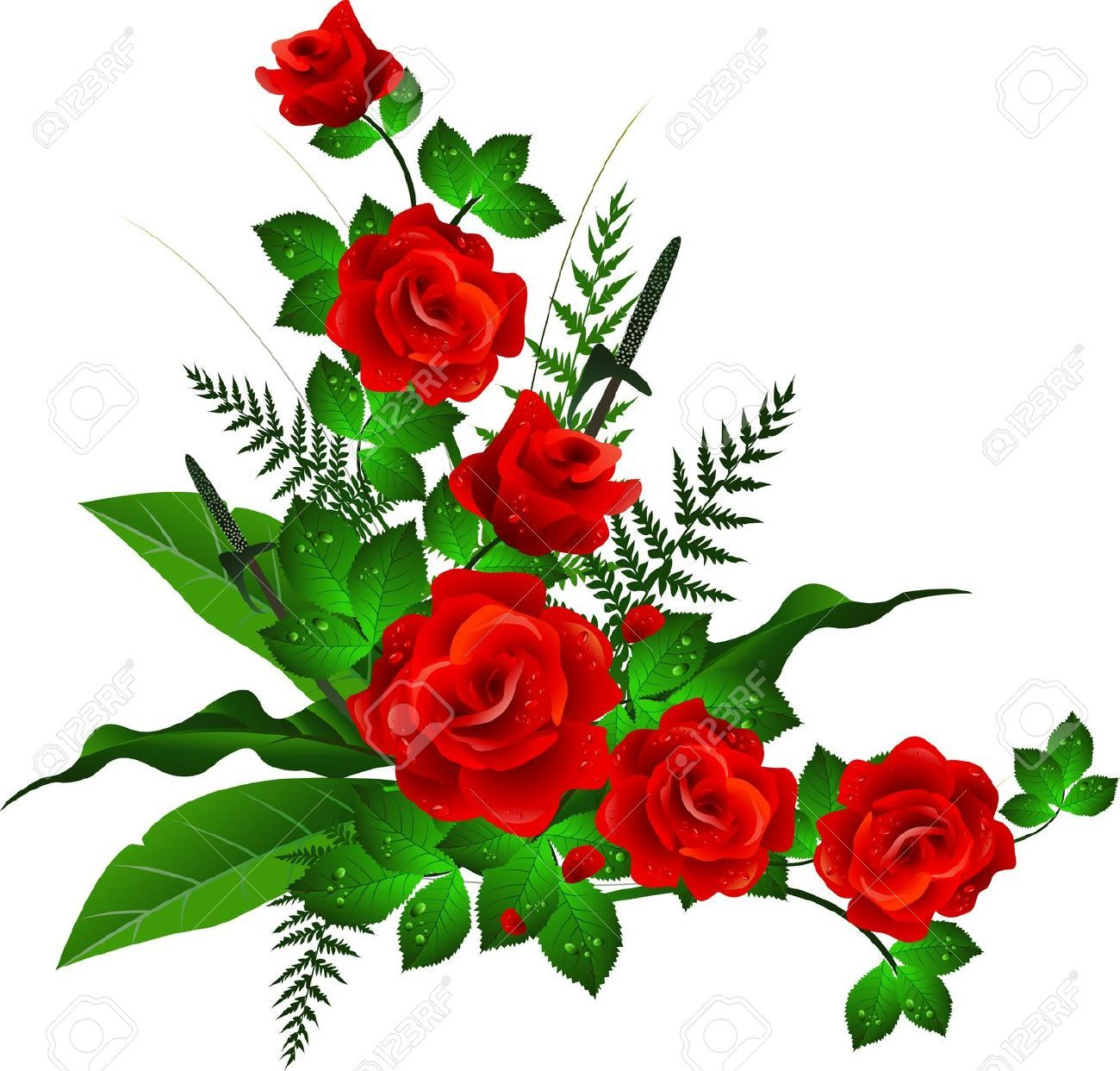 Decoration With Red Rose Royalty Free Cliparts Vectors And