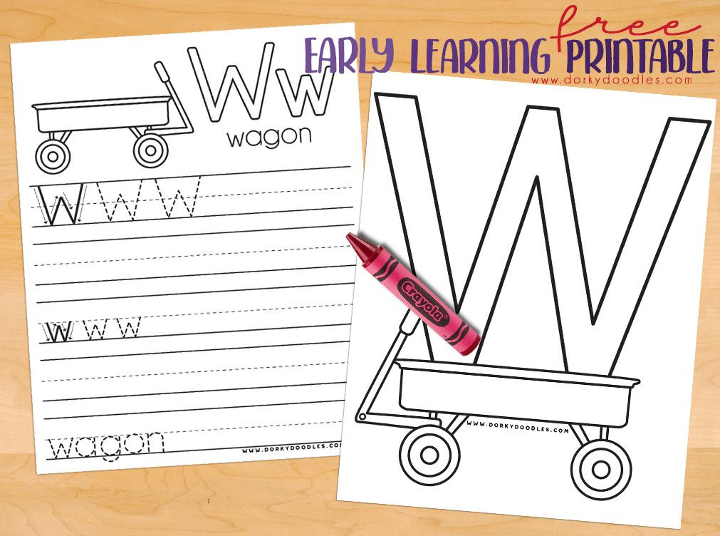 Letter W Coloring Page And Writing Practice Wagon Coloring Page