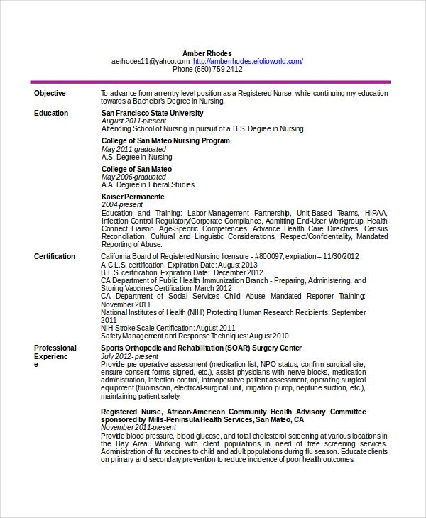 Resume Templates Free Telemetry Nurse Resume Free  12 Nursing Resume Template  When