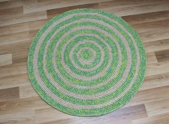 36 In Diameter Ready To Ship Hand Crochet Green Etsy Hand Crochet Childrens Rugs Handmade Rugs