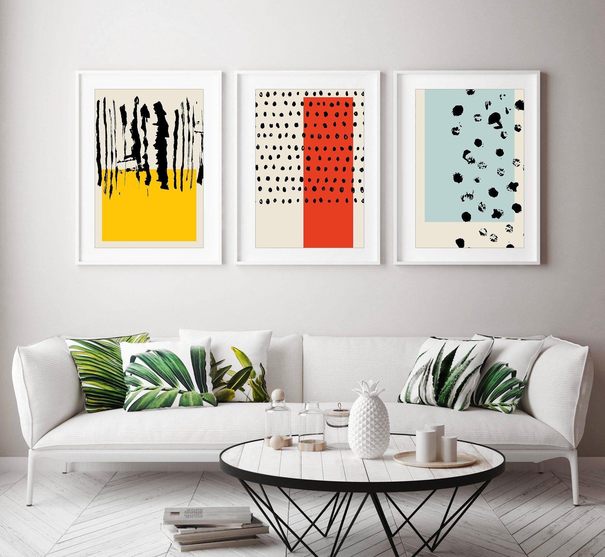 Set Of 3 Prints Minimalist Prints Modern Wall Art Living Etsy Wall Art Living Room Living Room Art Abstract Wall Art