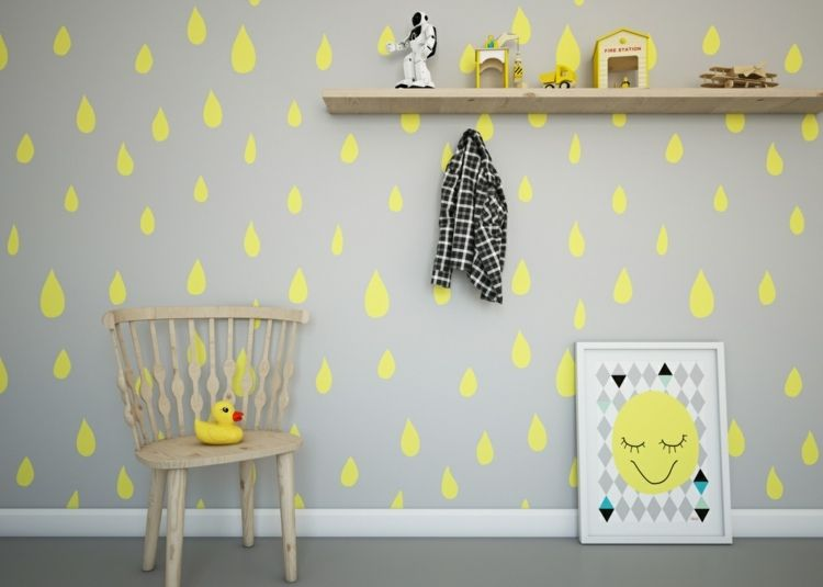 Déco chambre enfant avec papier peint et sticker mural- 27 photos ...
