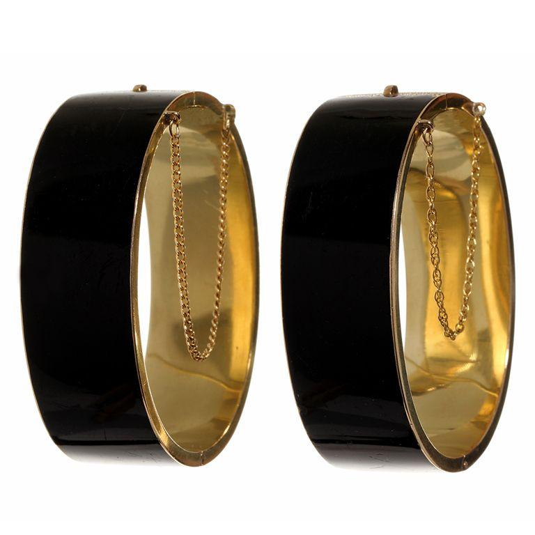 Victorian Black Enamel Bracelet Set | 1stdibs.com