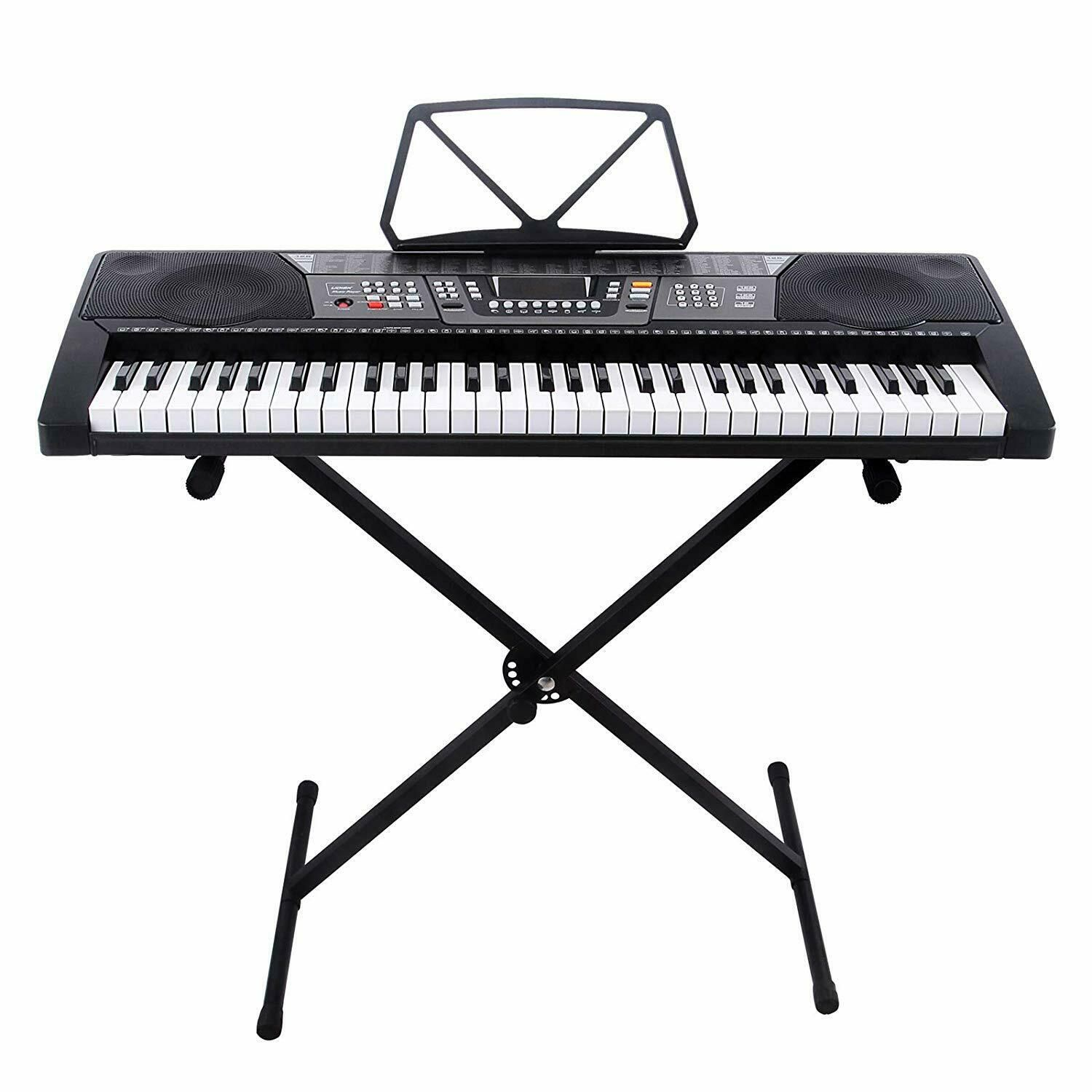 61 Key Portable Electric Piano Keyboard Led Display Usb Headphones