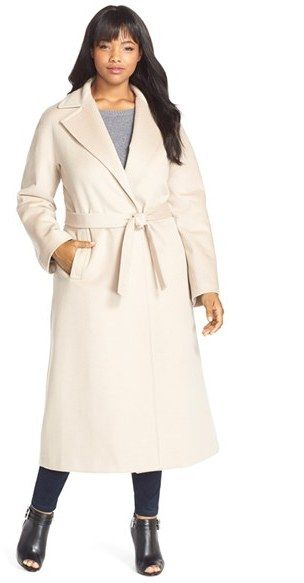 5564aae1de2 Fleurette Notch Collar Wool Wrap Coat (Plus Size)