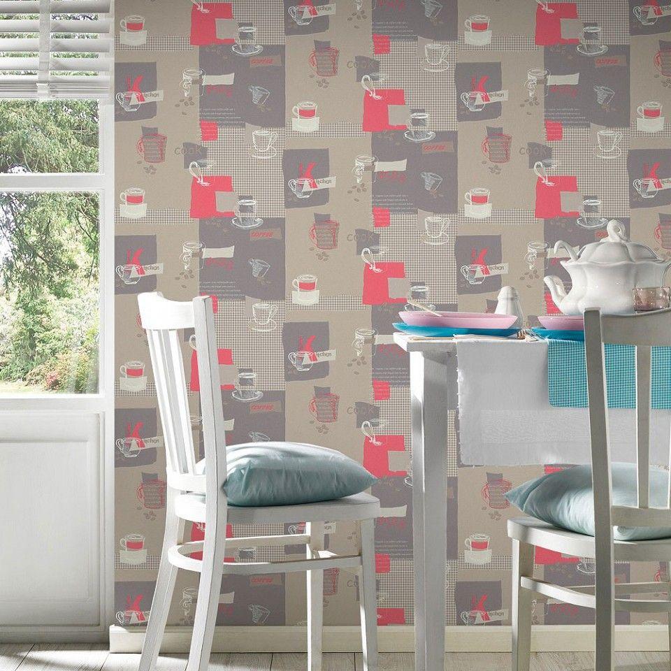 Papel pintado para cocina beige rojo gris y blanco PDA8300892