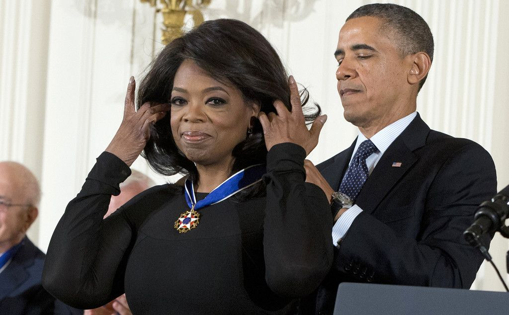"Illuminati puppet Oprah Winfrey receives the ironically titled ""Medal of Freedom"". The list"