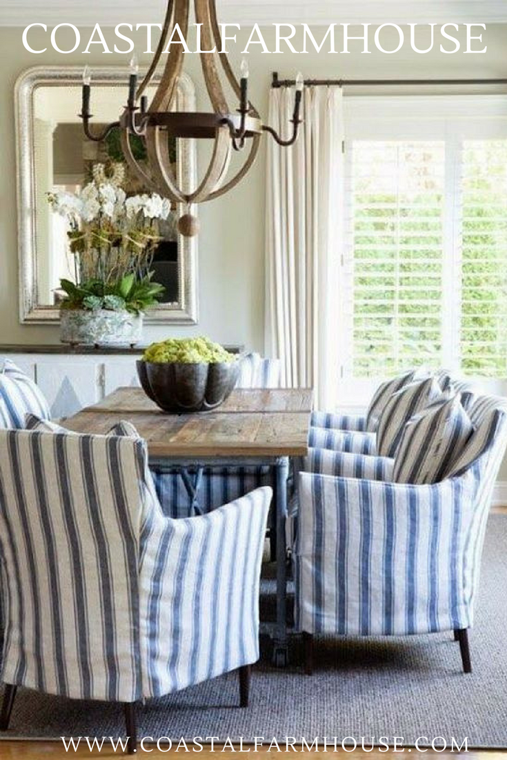 Blue And White Striped Chair Purple Dining Slipcovers Coastal Farmhouse Covers For Room