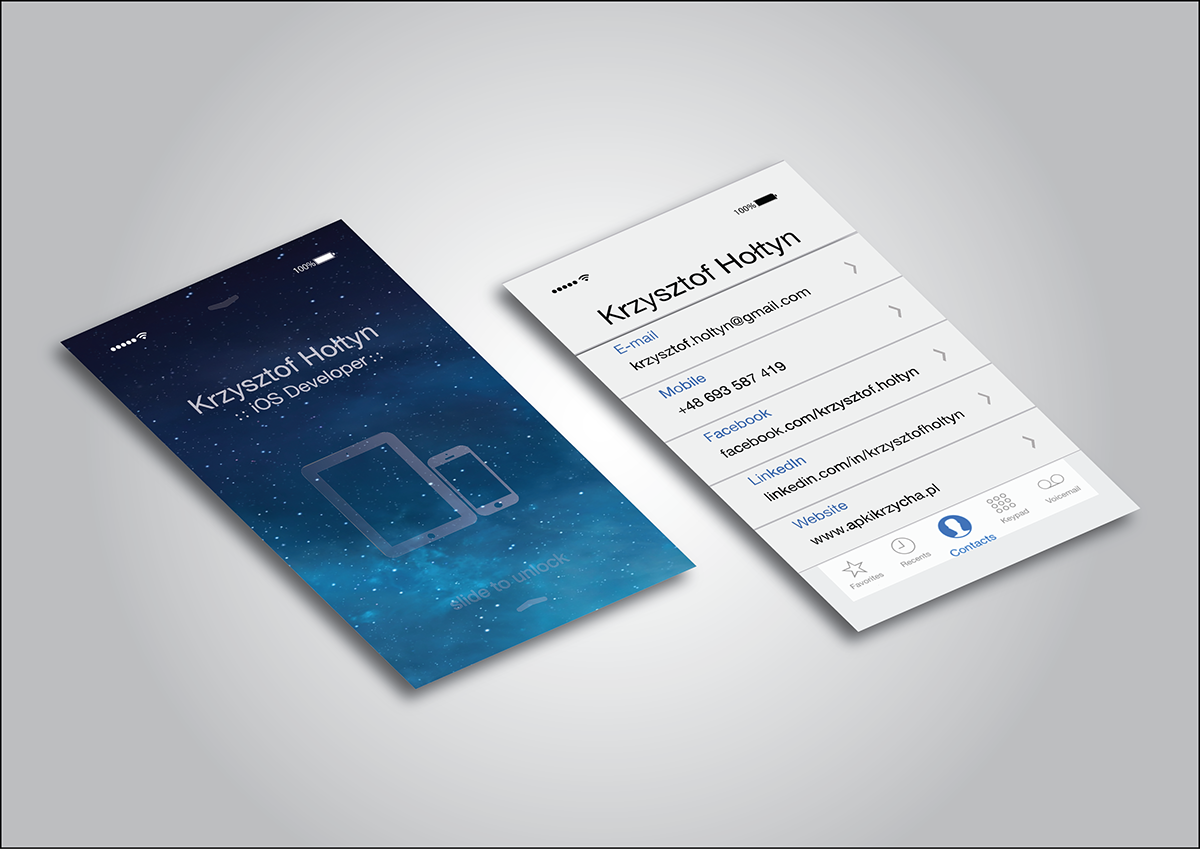 Creative business card for iOS Developer on Behance | Resume / CV ...