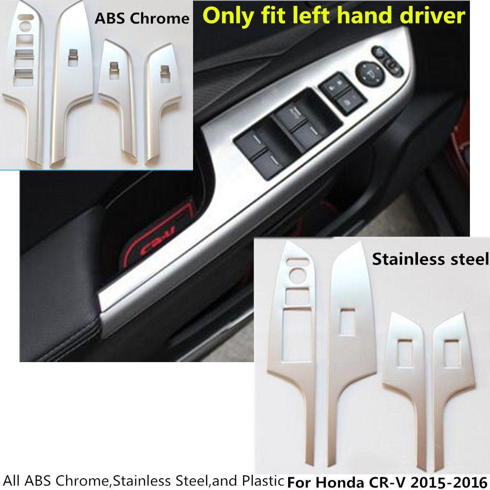 Hot For Honda Crv Cr V 2015 2016 Stainless Steel Abs Chrome Door Window Glass Panel Armrest Lift Switch Button Door Window Glass Interior Accessories Honda Crv