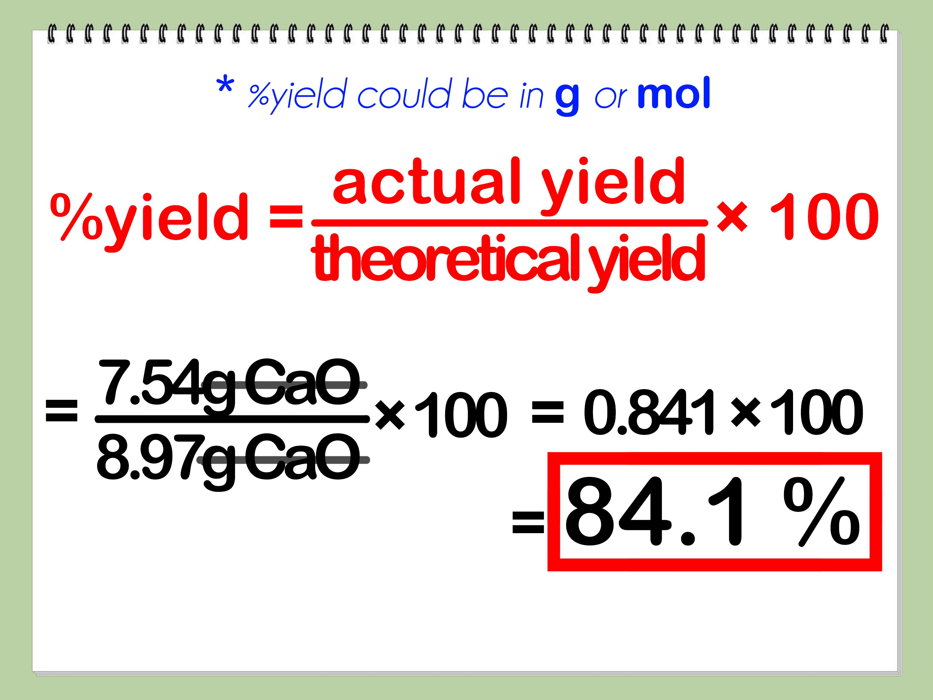 Calculate Percent Yield In Chemistry