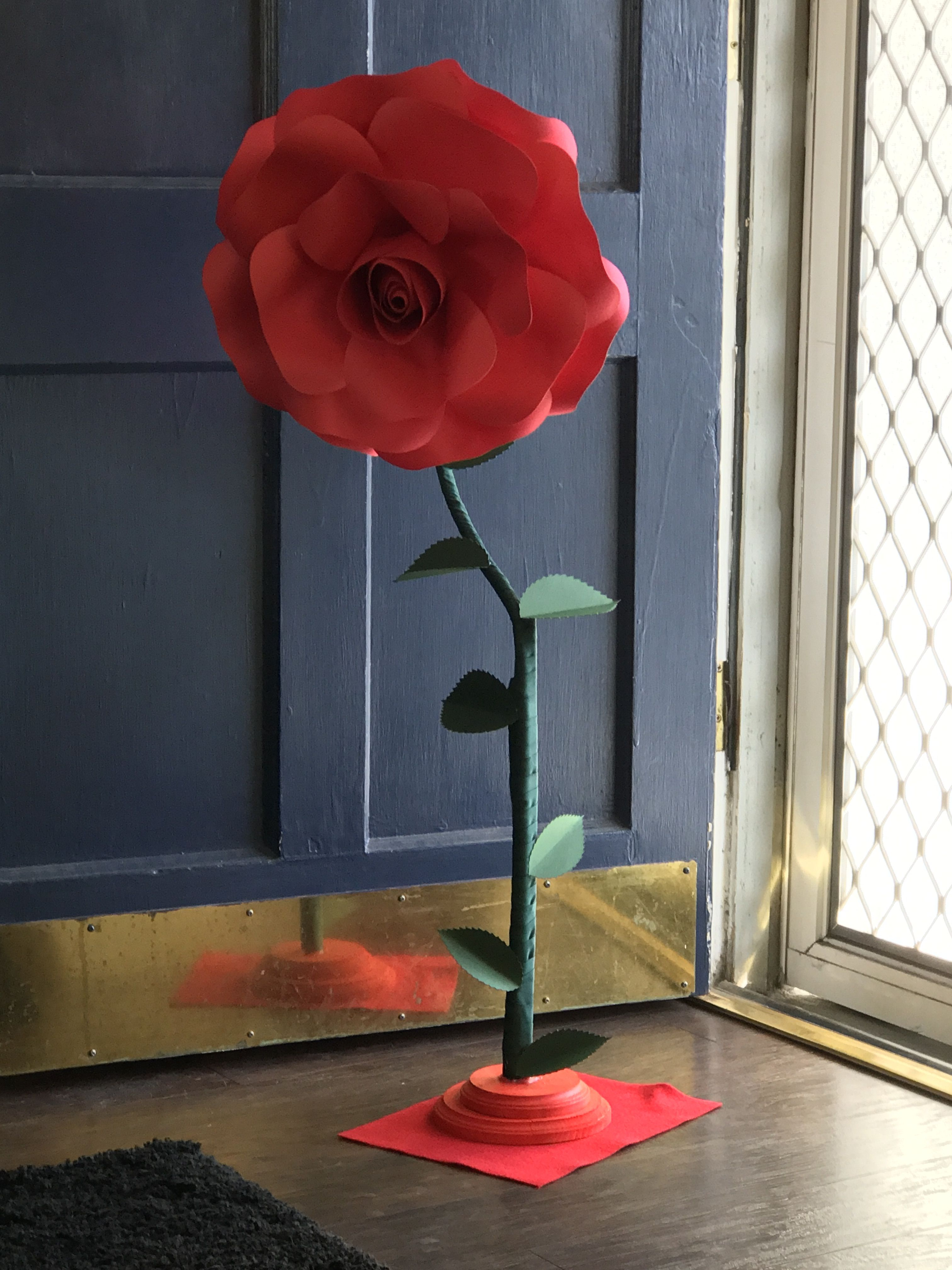 Giant Free Standing Red Paper Rose Giant Paper Flowers Paper Flowers Diy Red Rose Paper Flower Wall Paper Paper Flower Wall Paper Roses Paper Flowers Diy