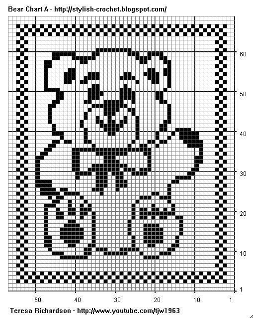 Free Filet Crochet Charts And Patterns Filet Crochet Bear Chart A