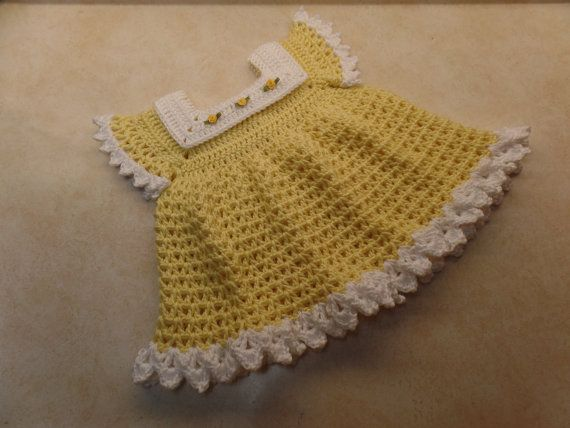 Crochet sunshine & roses baby dress pattern 0-6 month DIGITAL DOWNLOAD ONLY #beddollsandcrocheted1112sizedolldresses
