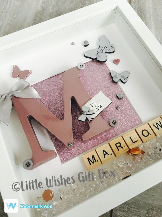 New Baby Girl birth / child initial box frame, perfect for a Nursery ...