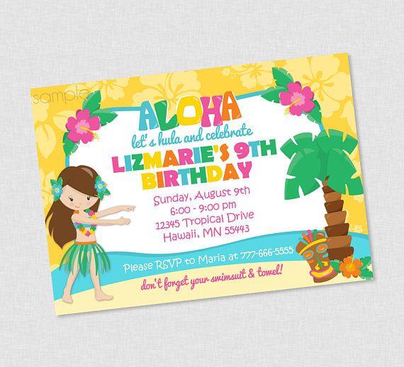 hawaiian luau hula birthday invitation luau birthday invites hula